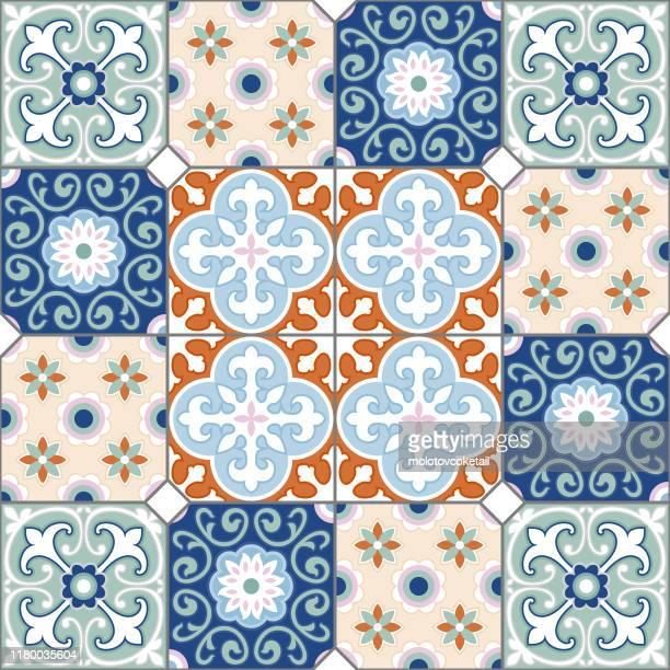 retro peranakan style tiles - tiled floor stock illustrations