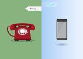 Retro phone and modern phone comparison.