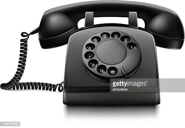 ilustraciones, imágenes clip art, dibujos animados e iconos de stock de teléfono retro - telefono fijo