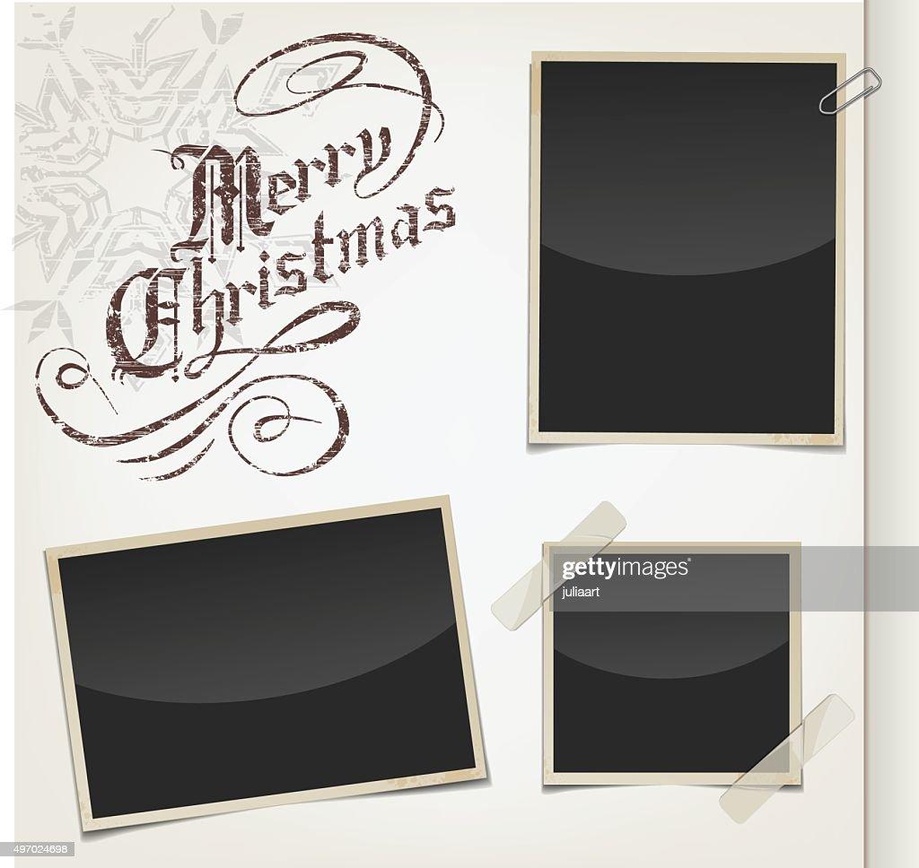 Retro photo frames and greeting christmas text