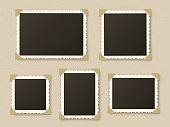 Retro photo frames. Vintage paper picture frame template for nostalgia scrapbook. Retro photos borders in album corners, vector layout