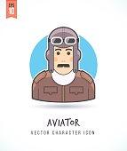 Retro pilot outlook man in vintage airman uniform illustration
