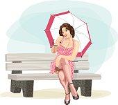 Retro Pin-Up Style With Umbrella