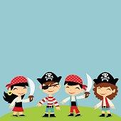 Retro Pirate Adventure Kids copy space