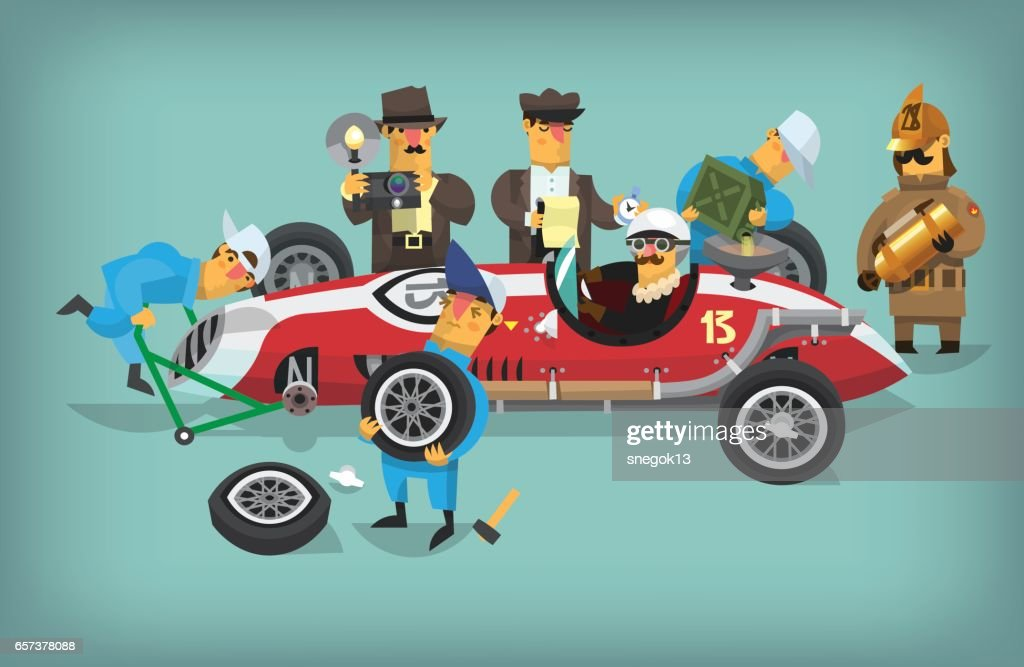 Retro pitstop workers chequing racing car