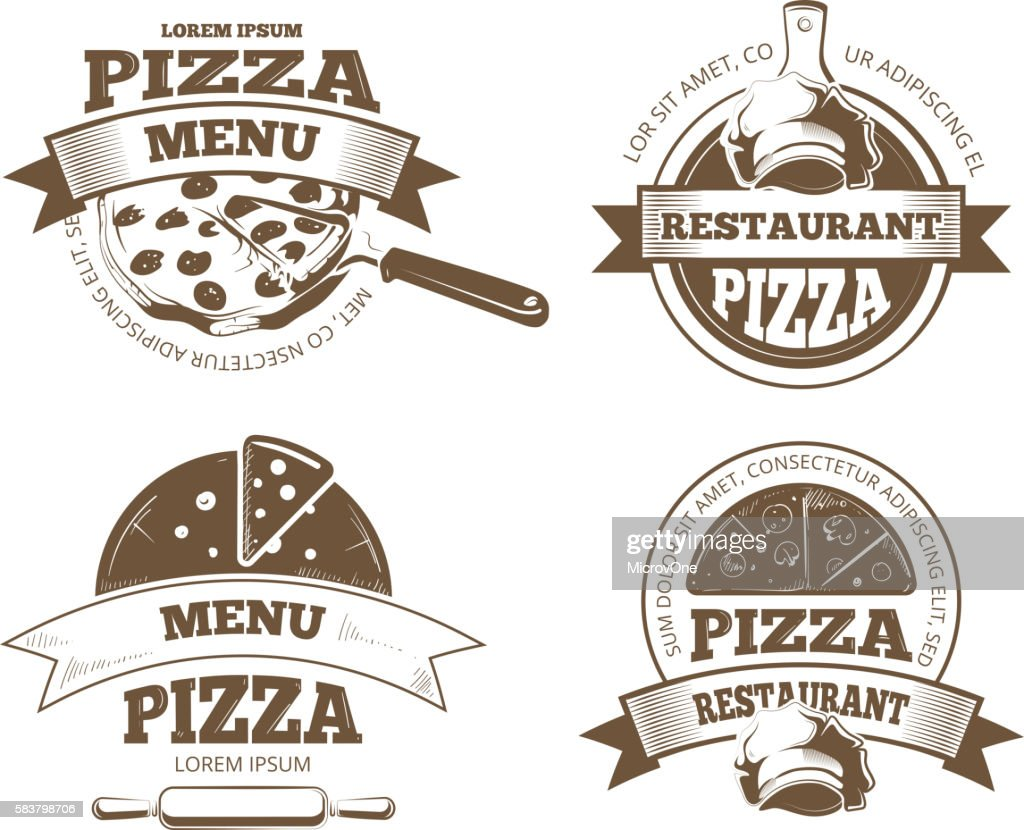 Retro pizzeria vector labels, logos, badges, emblems with pizza icons
