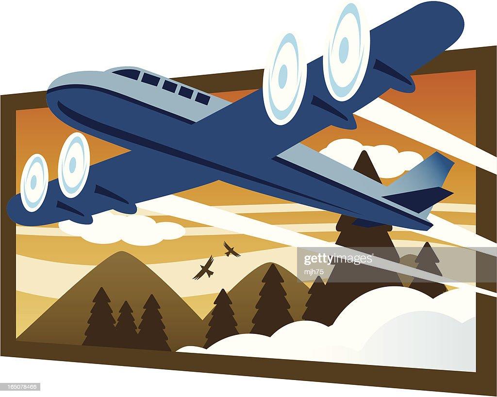 Retro Plane Mountain Vacation