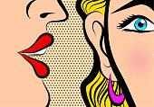 Retro Pop Art style Comic Style Book panel gossip girl whispering in ear secrets with pink cheek