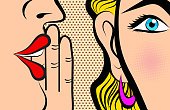 Retro Pop Art style Comic Style Book panel gossip girl whispering in ear secrets with pink cheek