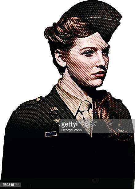 ilustraciones, imágenes clip art, dibujos animados e iconos de stock de retro retrato de mujer soldier personal de enfermería - enfermera