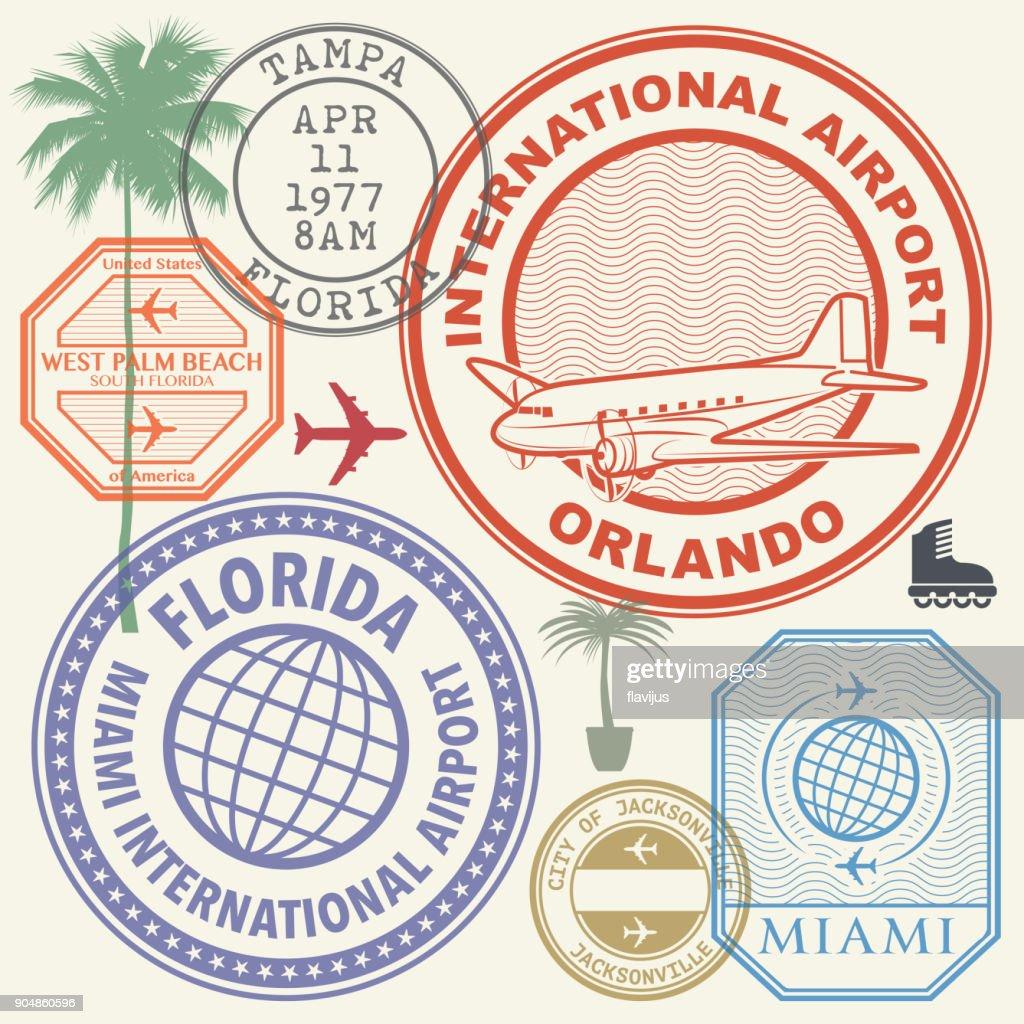 Retro postage USA airport stamps set Florida state