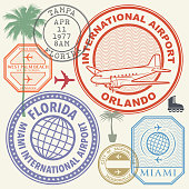 Retro postage USA airport stamps set Florida state
