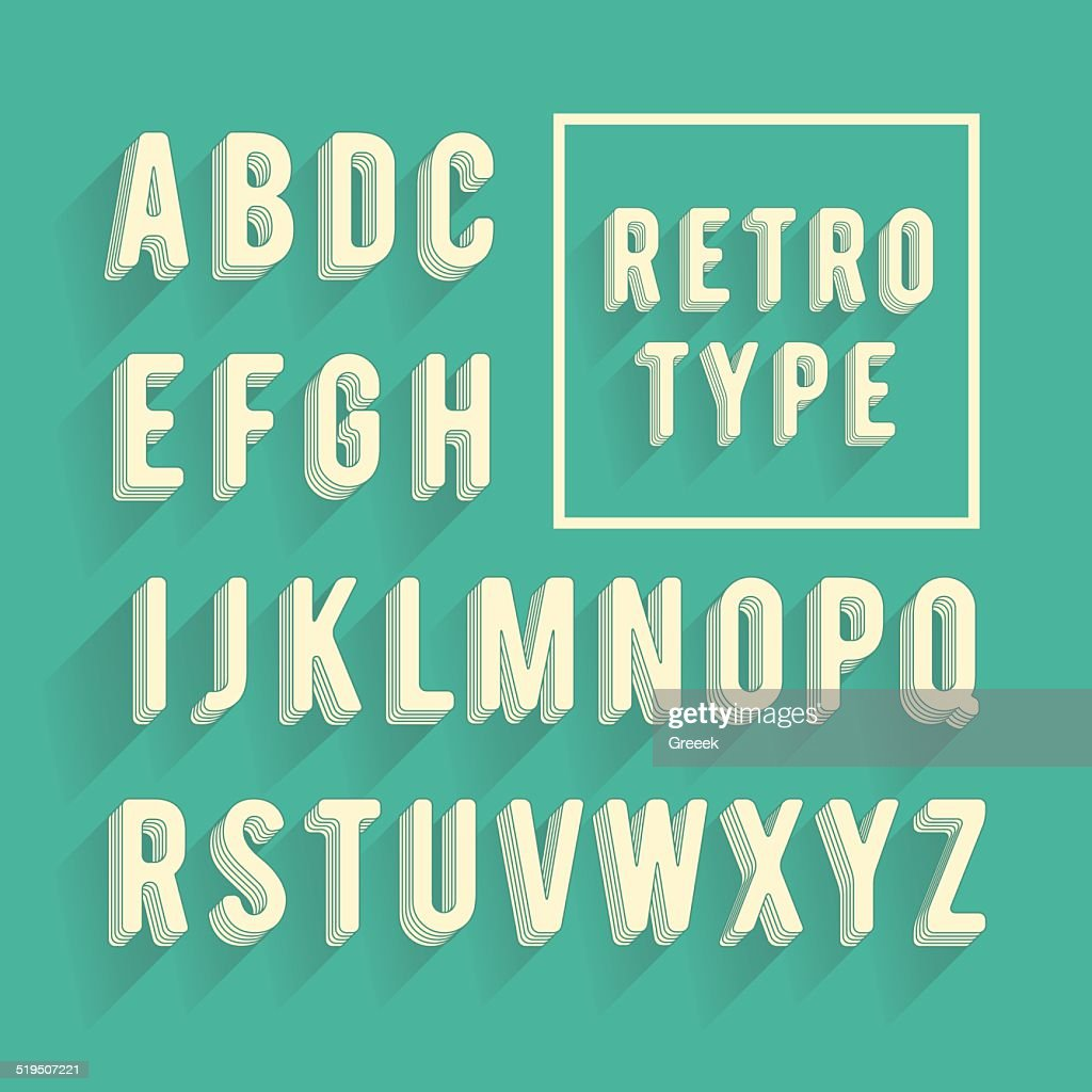 Retro poster alphabet. Retro font with shadow