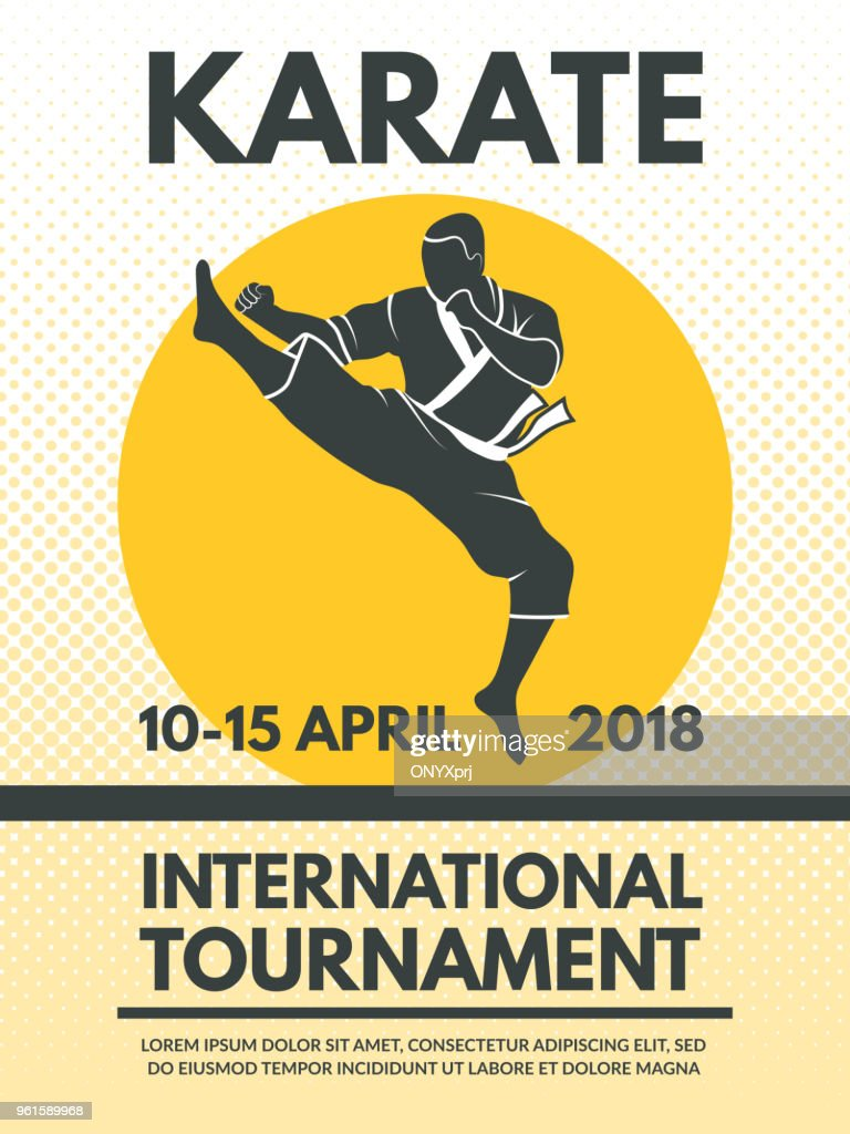 Retro poster invitation at karate fighting championship