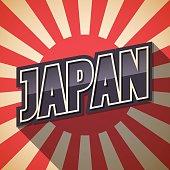 Retro poster. Japan speech. Vector illustration.