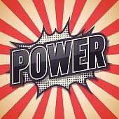 Retro poster, Power, Vector illustration.