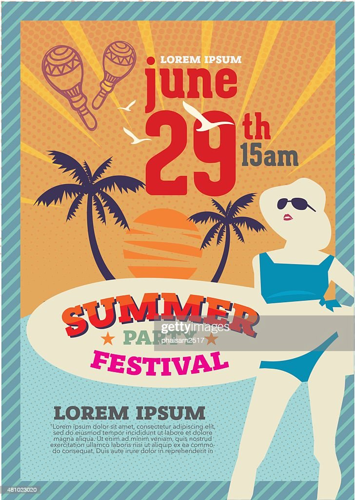 retro poster summer party and brochure