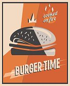 Retro poster with burger with beef meat. restaurant concept and design. Vintage style background. vector illustration