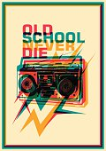 Retro poster with ghetto blaster.