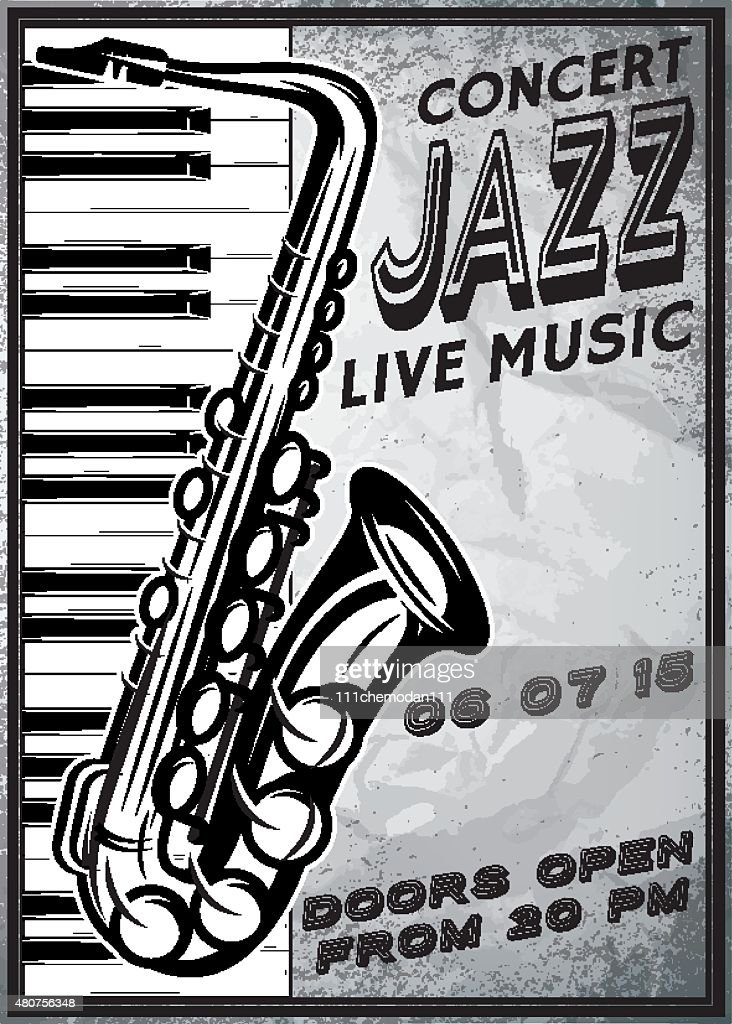 retro poster with saxophone and piano for jazz festival