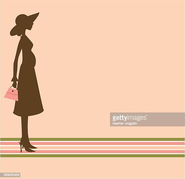 retro pregnant woman - pink hat stock illustrations