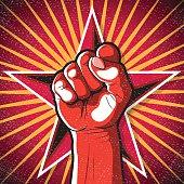 Retro Punching Fist Sign.