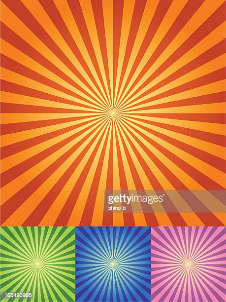 Retro Radial Hintergrund in vier Farbe setzt