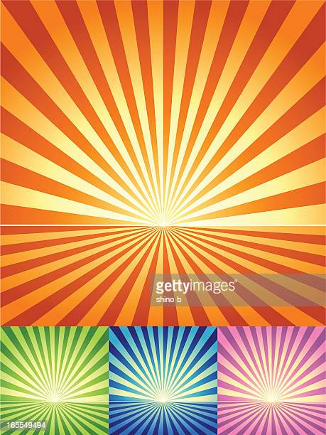 Retro Radial light and ground Background in 4 color sets