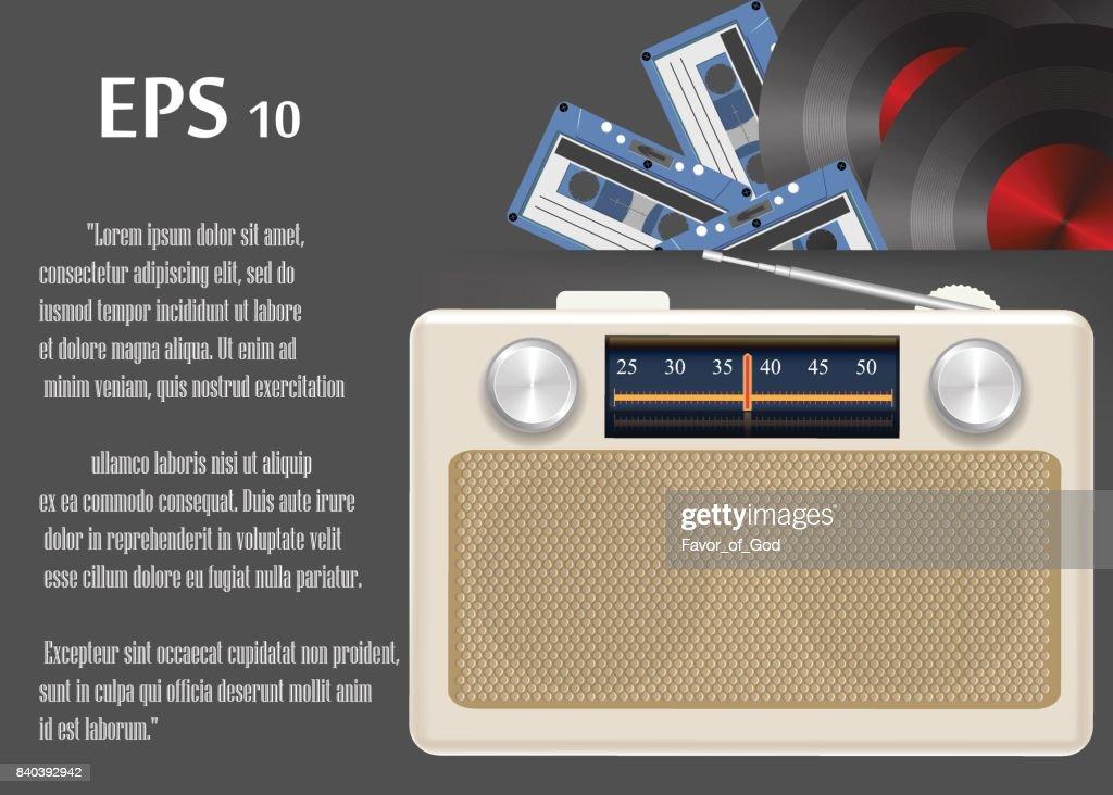 retro radio, cassettes, shellac disc on grey background
