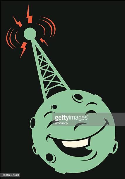 ilustraciones, imágenes clip art, dibujos animados e iconos de stock de torre de radio retro - torres de telecomunicaciones