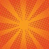 Retro rays comic orange background.