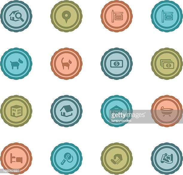 ilustraciones, imágenes clip art, dibujos animados e iconos de stock de inmobiliaria tarjetas de retro - bañera con patas