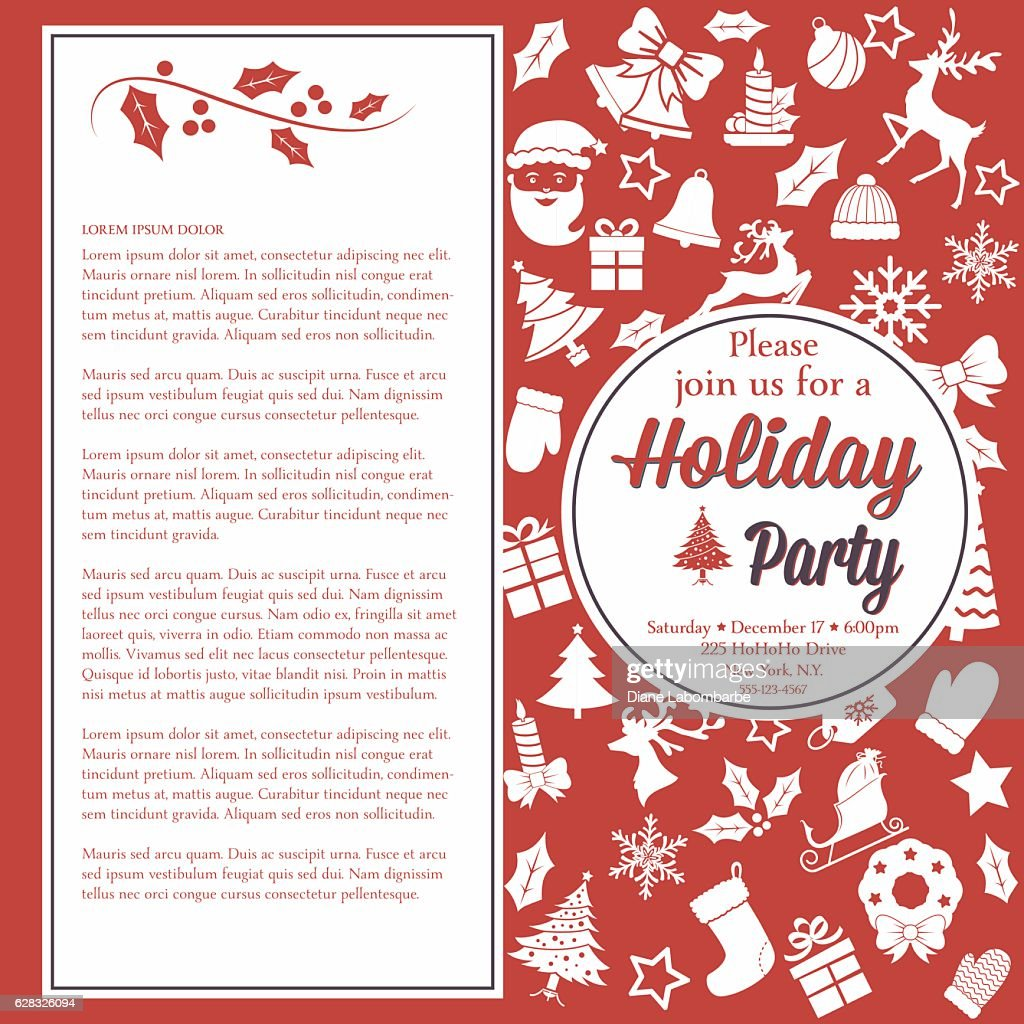 Retro Red And White Christmas Party Invitation Template Stock