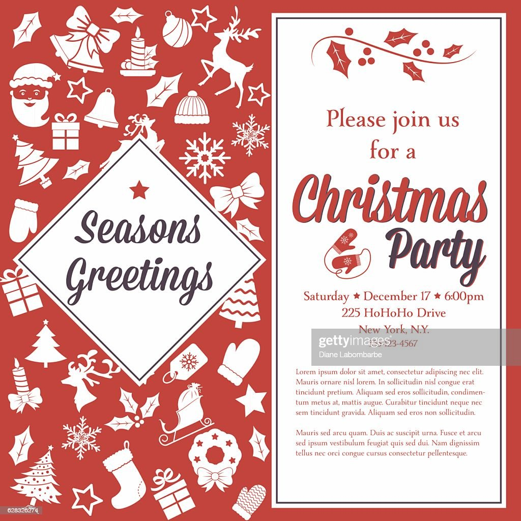 Retro Red And White Christmas Party Invitation Template Vector Art ...