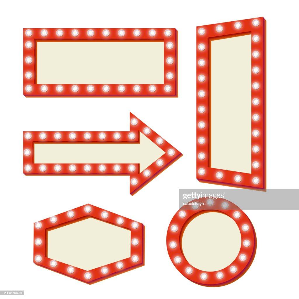 retro Red frame. Vintage Signs