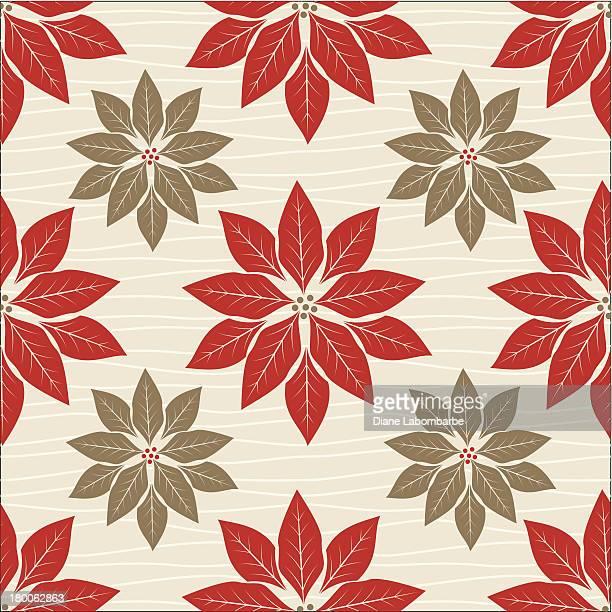 ilustraciones, imágenes clip art, dibujos animados e iconos de stock de retro rojo patrón de flor de nochebuena - flor de pascua