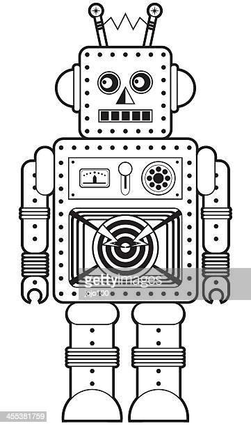Retro Roboter-Charakter-Symbol in schwarz und weiß