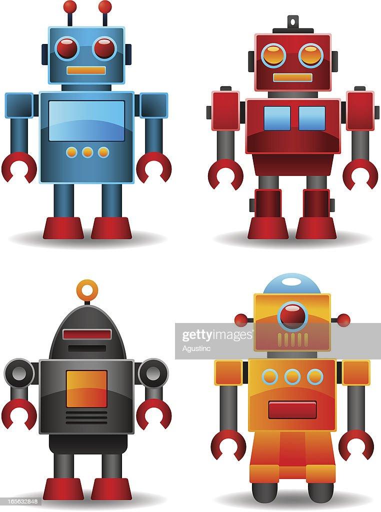 retro robots vector art getty images