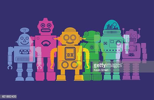 ilustraciones, imágenes clip art, dibujos animados e iconos de stock de robots retro - robot