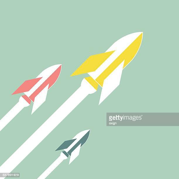 retro rockets - rocket stock illustrations