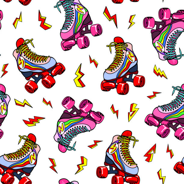 Retro roller derby skates with the lightning strikes seamless pattern. Vector illustration. Fun disco background design.