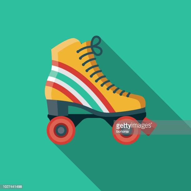 retro roller skates flat design 1970s icon - roller skating stock illustrations