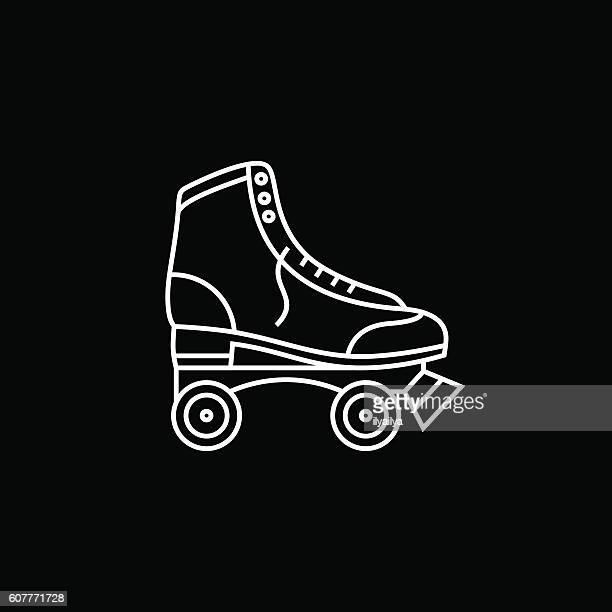 retro roller skates icon - roller skating stock illustrations
