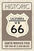 Retro route 66 sign. Historic roud background. Travel California, US