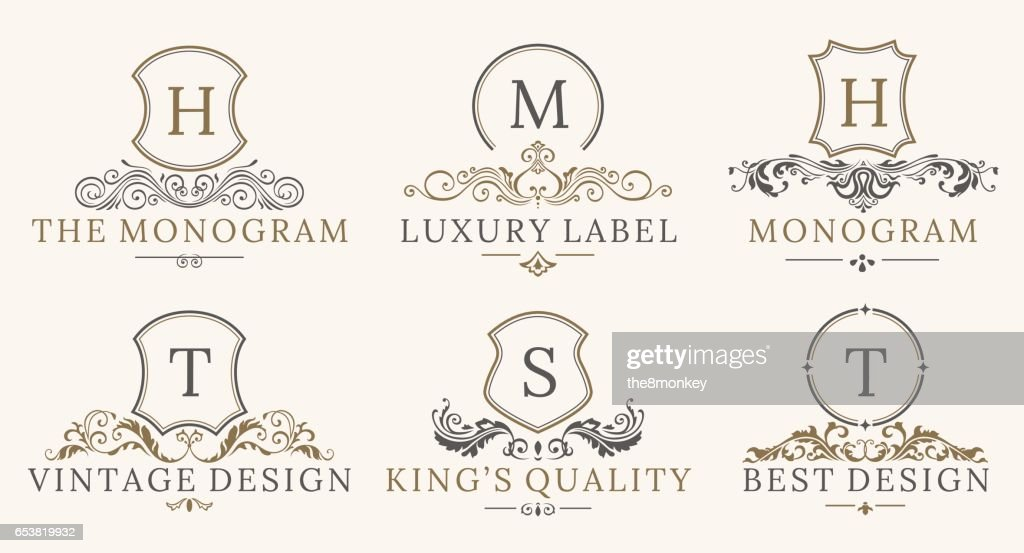 Retro Royal Vintage Shields Logotype set. Vector calligraphyc Luxury logo design elements. Business signs, logos, identity, spa, hotels, badges