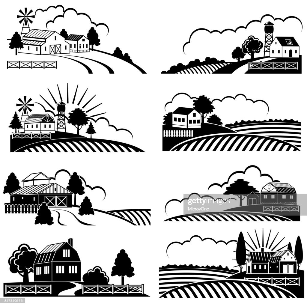 Retro rural landscapes with farm building in field. Vector vintage woodcut art