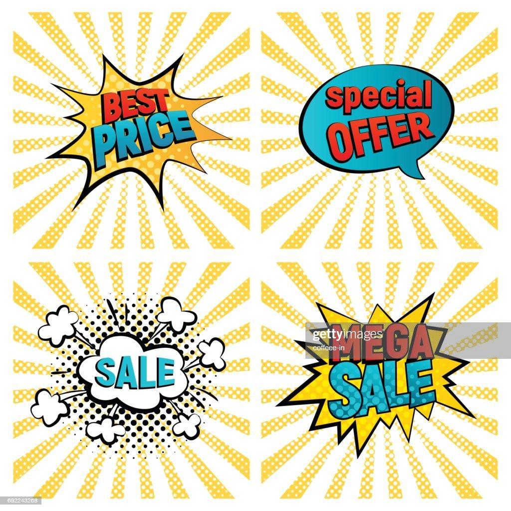 Retro sales icon vector card set