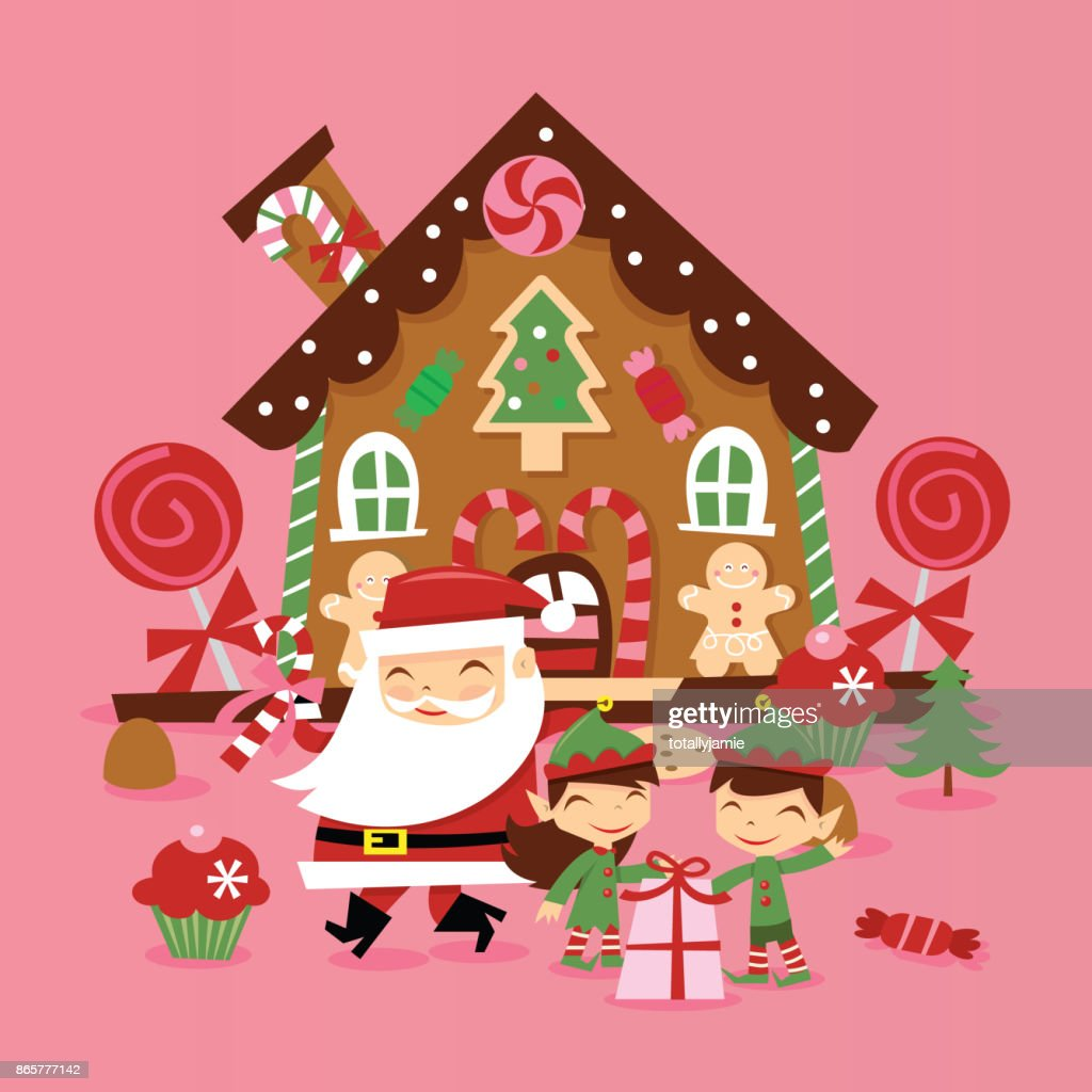 Retro Santa Claus And Elves Gingerbread House