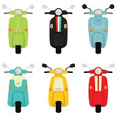 Retro Scooter Collection In White Background