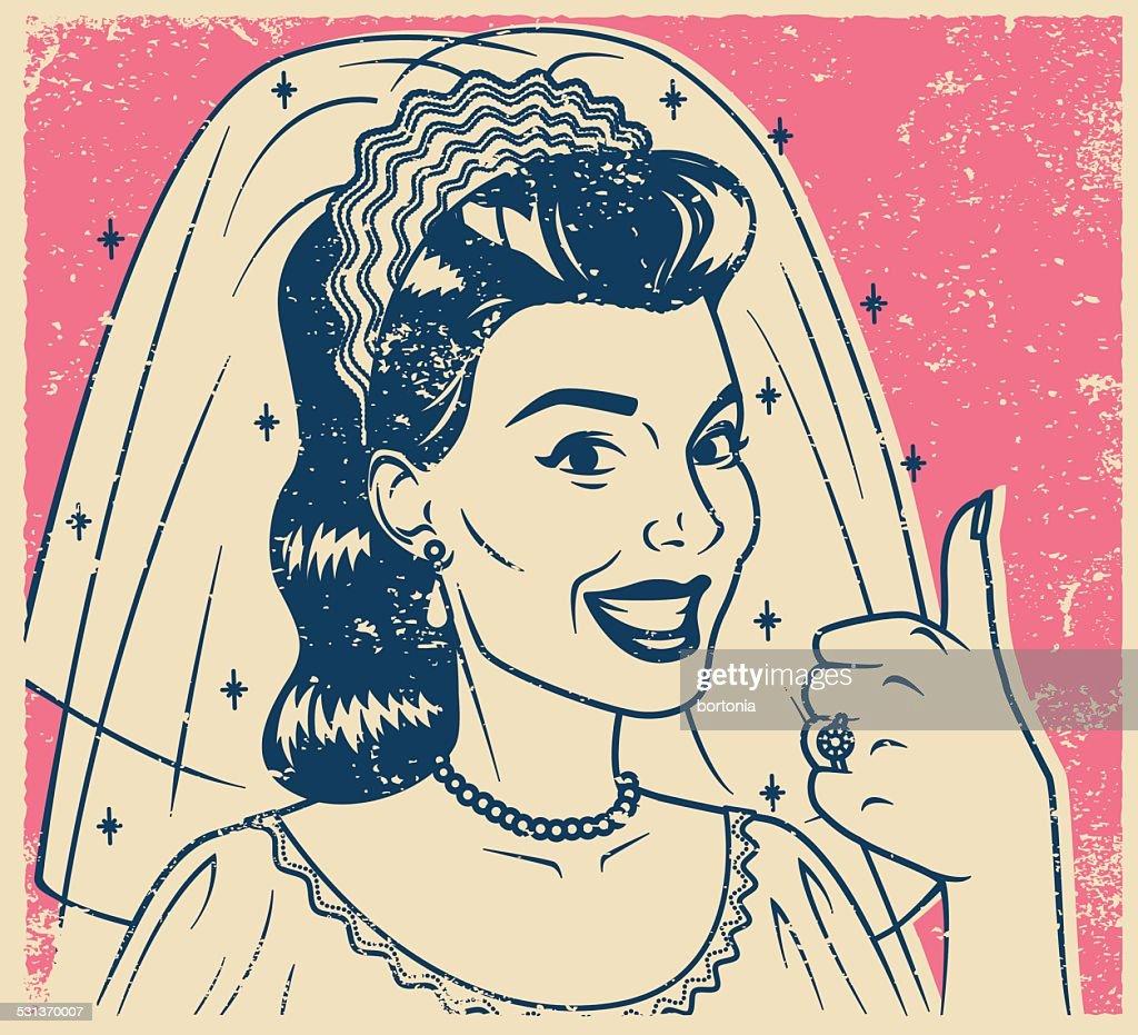Retro Screen Print Bride Giving a Thumb's Up